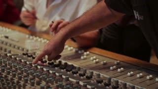 Marking audio recording desk console in recording studio for sound mixing