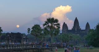 Moon rise Angkor Wat Cambodia ancient civilization temple