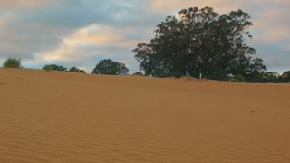 Morning clouds over Sand dune desert outback Australia landscape