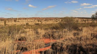 Outback Australia Landscape Red Desert Sand and Dry Arid Grasslands