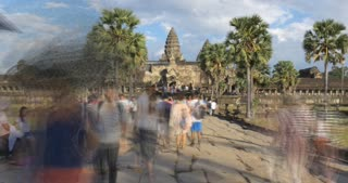 People timelapse Angkor Wat Cambodia ancient civilization temple