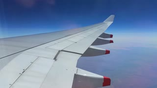 Plane Wing Airbus through window - Travel Holiday