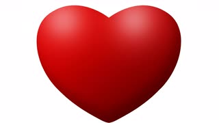 Red Love heart thumping beating on white background