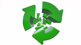 Rotating Recycle Recycling symbol logo animation