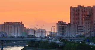 SAIGON RIVER HO CHI MINH, VIETNAM - NOVEMBER 2015: Asia City Sunset