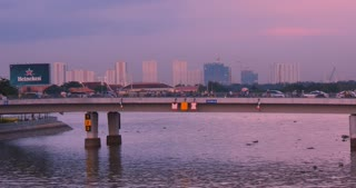 SAIGON RIVER HO CHI MINH, VIETNAM - NOVEMBER 2015: Asia City Sunset