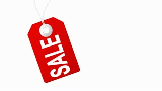 Sale animation with red tags for shopping sales and promotions
