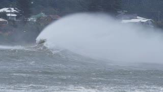 Sea spray form massive waves during storm bad weather El Niño