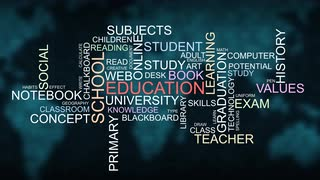 Skill development and school education learning word typography