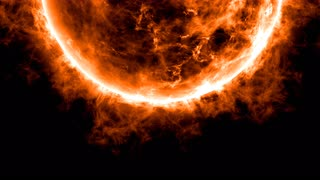 Sun animation close up with bright hot corona fire flames - Orange Animation of the Sun, the star at the center of the Solar System, important source of energy for life on Earth.