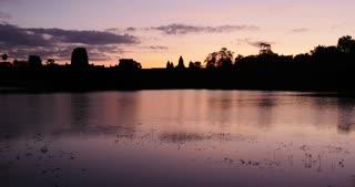 Sunrise time lapse Angkor Wat Cambodia ancient civilization temple