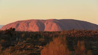 Sunrise Uluru, Ayers Rock Landmark Outback Australian Red Desert Landscape