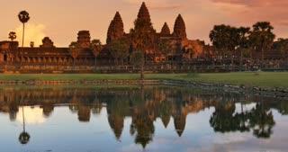 Sunset Angkor Wat Cambodia ancient hindu civilization temple