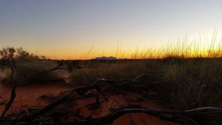 Sunset Outback Australia Landscape Red Desert Sand and Dry Arid Grasslands