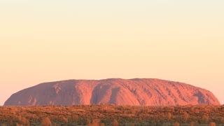 Sunset Uluru, Ayers Rock Landmark Outback Australian Red Desert Landscape