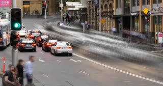 Sydney Australia establishing shot city street traffic and people time lapse