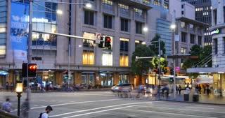 Sydney Australia establishing shot city street traffic and people time lapse