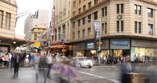 Sydney Australia George St city street traffic and people time lapse