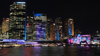 Sydney City Building Skyline Landscape Night Timelapse - Vivid