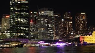 Sydney City Building Skyline Landscape Night Timelapse - Vivid