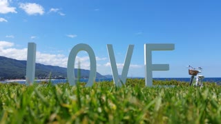 This Valentine's Day love sign on grass with blue sky background.