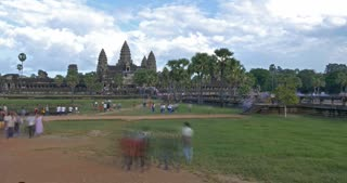 Time lapse of Angkor Wat Cambodia ancient civilization temple