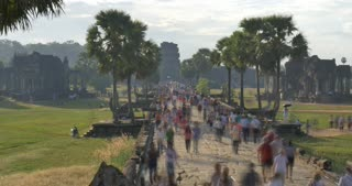 Timelapse people Angkor Wat Cambodia ancient civilization temple