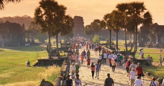 Tourist people Angkor Wat Cambodia ancient civilization temple