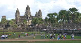 Tourist time lapse Angkor Wat Cambodia ancient civilization temple