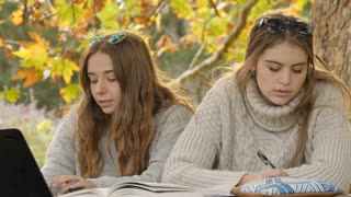 Two young college students working together outside on table autumn leave