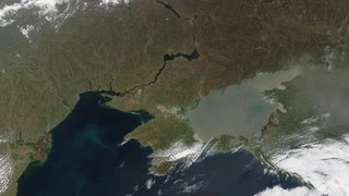 Ukraine from space - slow zoom - Ukraine is a country in Eastern Europe. It has an area of 603,628 km², making it the largest country entirely within Europe.