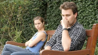 Unhappy upset couple are fighting and having relationship difficulties