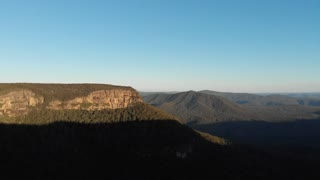 Aerial Australia drone footage of forest escarpment and cliffs