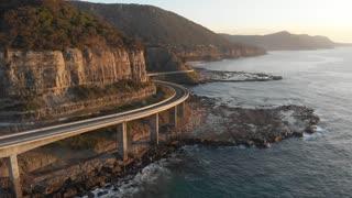 Aerial footage Australia coast landscape Sea Cliff Bridge NSW Australia