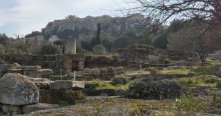 Agora of Athens overlooking Parthenon temple Acropolis - Athens Greece