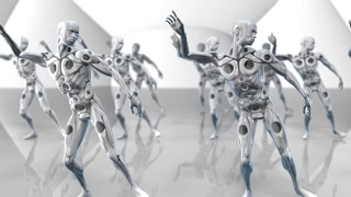 AI Artificial intelligence robots dancing simulation of deep learning