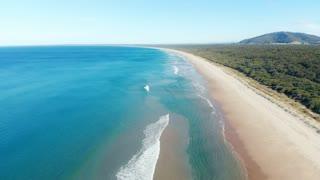 Aquamarine Australia deserted beach aerial footage ocean seascape