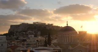 Athens Greece city sunset over Parthenon Athenian Acropoli