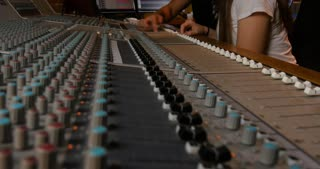 Audio recording music desk console in professional music recording studio