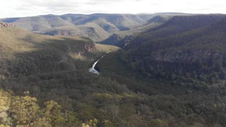 Australia aerial footage of river flowing in canyon - NSW, Australia