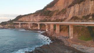 Australia aerial footage sea cliff bridge coastal landscape