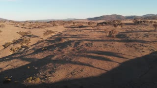 Australian outback aerial drone footage over dry bush grazing farm country