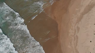 Beach aerial drone footage of beautiful ocean seascape top view