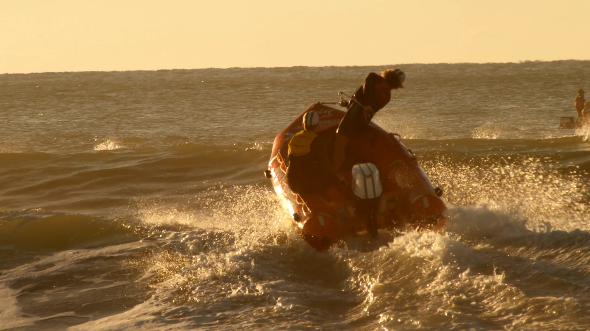 Beach Surf Lifeguard Rescue Boat Over Waves Stock Video Footage Storyblocks