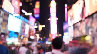 Blurr time lapse of Times Square At Night out of focus Manhattan, New York City