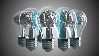 Brain light bulb AI artificial intelligence IOT connectivity
