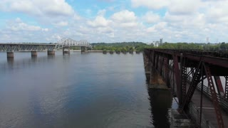 Bridge at Muscle Shoals Sheffield, Alabama - Tennessee River Aerial Shot