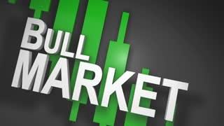 Bull market 3D title animation for stock market
