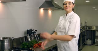 Chef female woman working as a professional cook hospitality restaurant