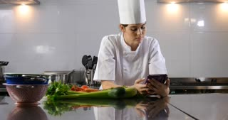 Chef occupation work in the cooking hospitality industry using tablet